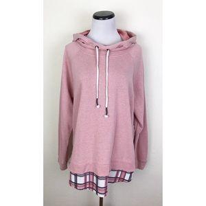 Maurices Hooded Cowl Neck Plaid Hem Sweatshirt